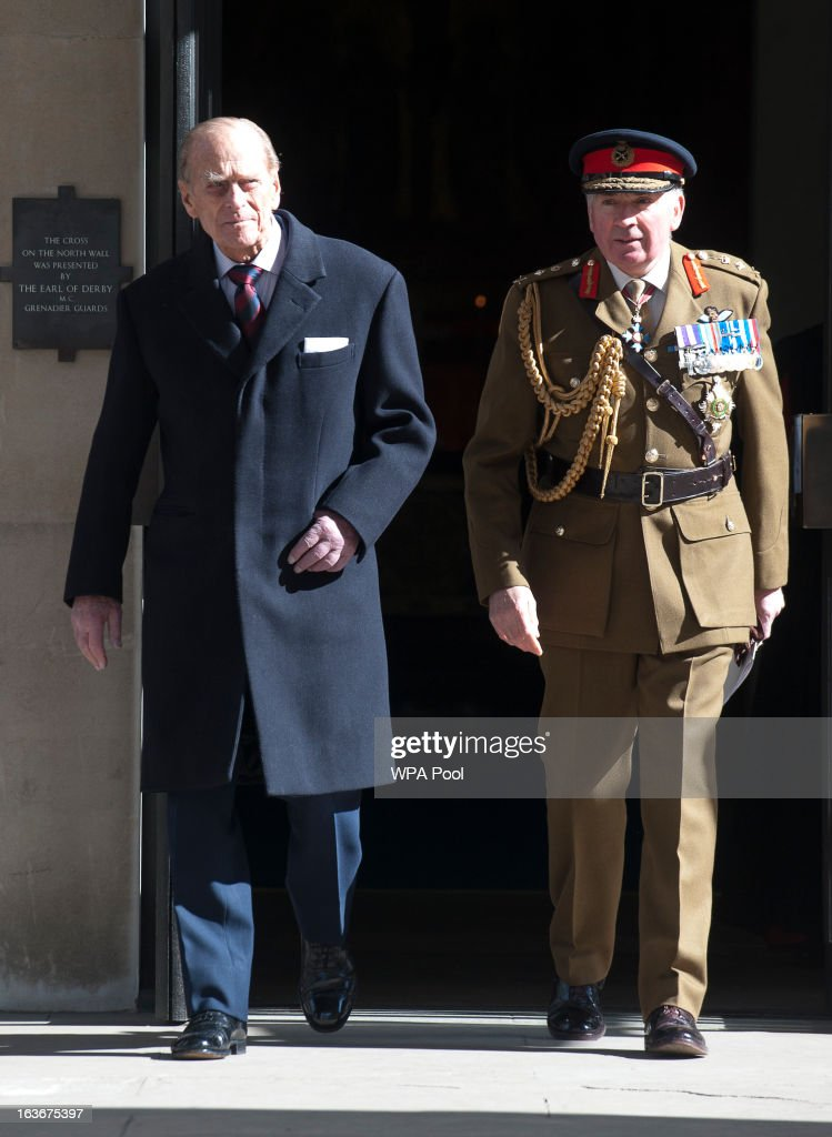 <a gi-track='captionPersonalityLinkClicked' href=/galleries/search?phrase=Prince+Philip&family=editorial&specificpeople=92394 ng-click='$event.stopPropagation()'>Prince Philip</a>, Duke of Edinburgh, waks with General Lord Dannatt as he attends a service for the 175th anniversary of the Soldier's and Airmen's Scripture Association, at the Guards Chapel on March 14, 2013 in London, England.