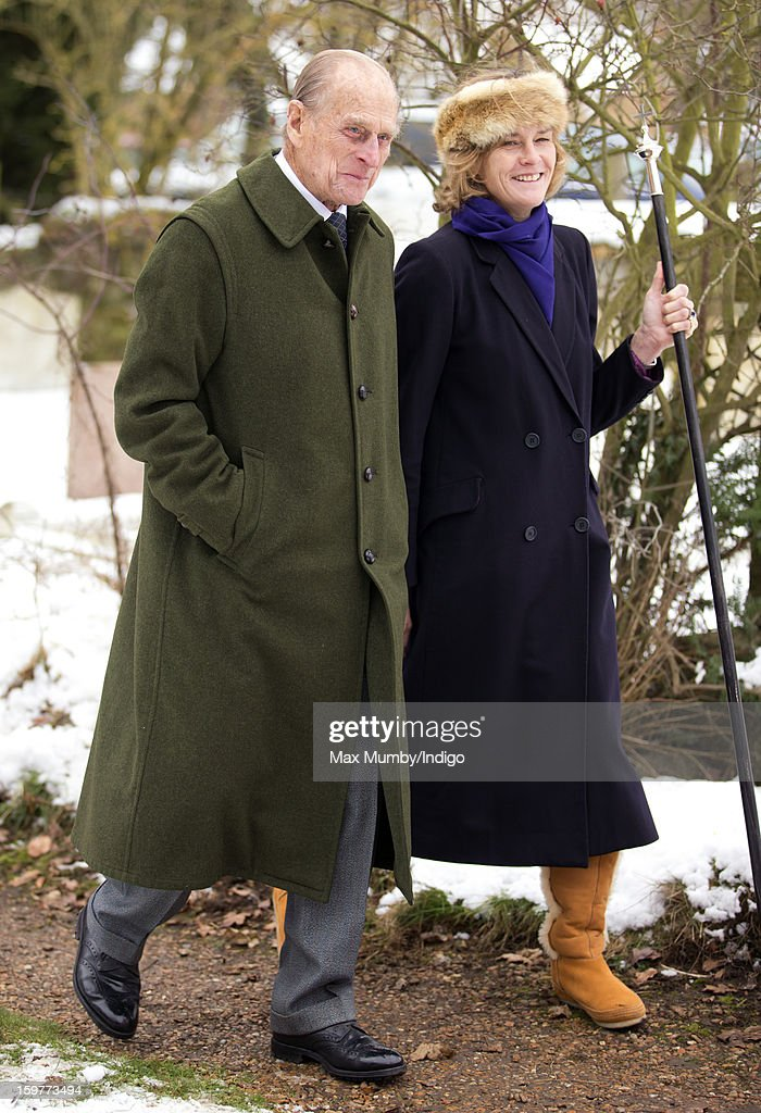 <a gi-track='captionPersonalityLinkClicked' href=/galleries/search?phrase=Prince+Philip&family=editorial&specificpeople=92394 ng-click='$event.stopPropagation()'>Prince Philip</a>, Duke of Edinburgh walks through the snow covered church yard after attending Sunday Service along with Queen Elizabeth II at the Church of St Lawrence in Castle Rising near the Sandringham Estate on January 20, 2013 near King's Lynn, England.