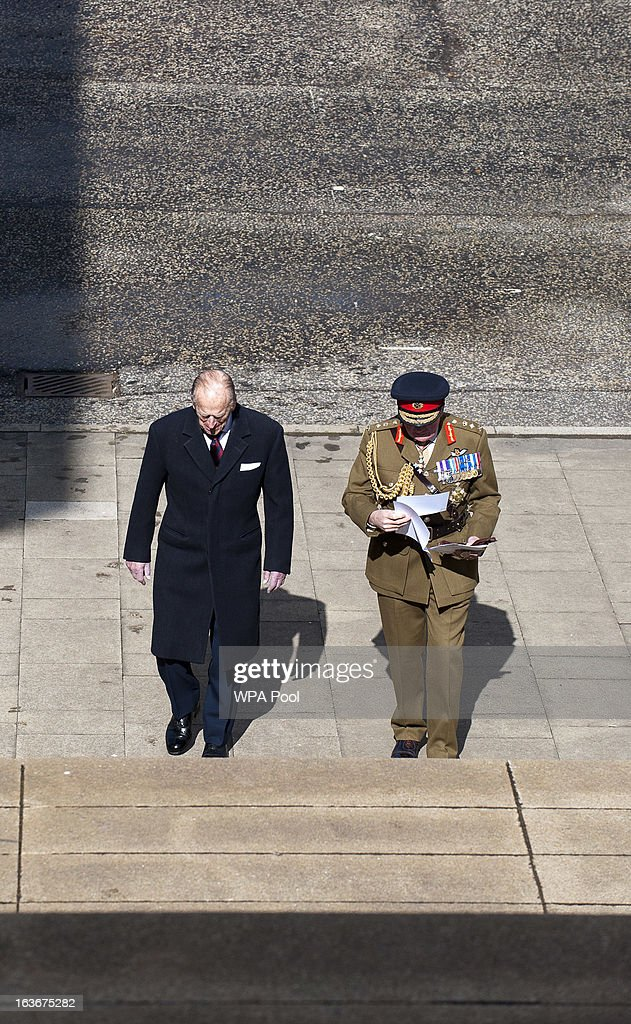 Prince Philip, Duke of Edinburgh, walks with General Lord Dannatt as he attends a service for the 175th anniversary of the Soldier's and Airmen's Scripture Association, at the Guards Chapel on March 14, 2013 in London, England.