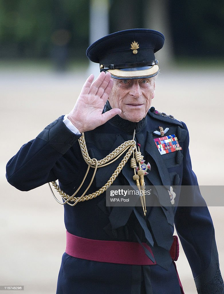 <a gi-track='captionPersonalityLinkClicked' href=/galleries/search?phrase=Prince+Philip&family=editorial&specificpeople=92394 ng-click='$event.stopPropagation()'>Prince Philip</a>, Duke of Edinburgh waves as he arrives to take the Salute at the Household Division Beating Retreat outside the Guards Museum on June 9, 2011 in London, England. <a gi-track='captionPersonalityLinkClicked' href=/galleries/search?phrase=Prince+Philip&family=editorial&specificpeople=92394 ng-click='$event.stopPropagation()'>Prince Philip</a> will celebrate his 90th birthday tomorrow.