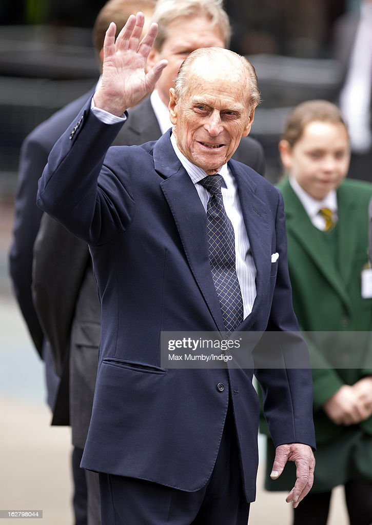 <a gi-track='captionPersonalityLinkClicked' href=/galleries/search?phrase=Prince+Philip&family=editorial&specificpeople=92394 ng-click='$event.stopPropagation()'>Prince Philip</a>, Duke of Edinburgh waves as he leaves the new National Centre for Bowel Research and Surgical Innovation at Queen Mary, University of London on February 27, 2013 in London, England.