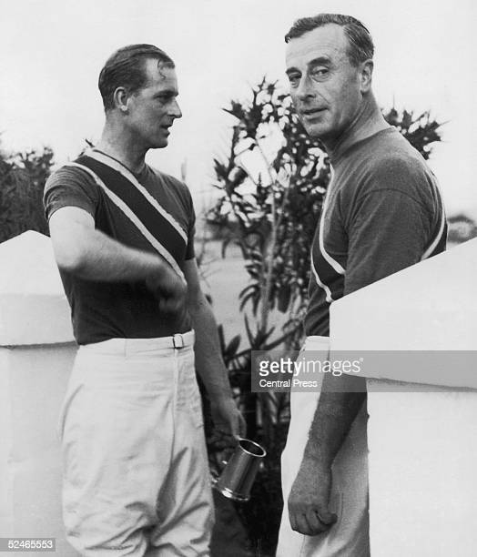 Prince Philip Duke of Edinburgh with his uncle Louis Mountbatten after a polo match in which they played for the Shrimps team Malta 4th December 1952...