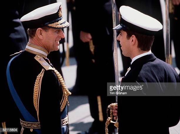 Prince Philip In Naval Uniform Of Admiral Of The Fleet Joking With Prince Andrew While Inspecting The Passing Out Parade At Dartmouth Royal Naval...