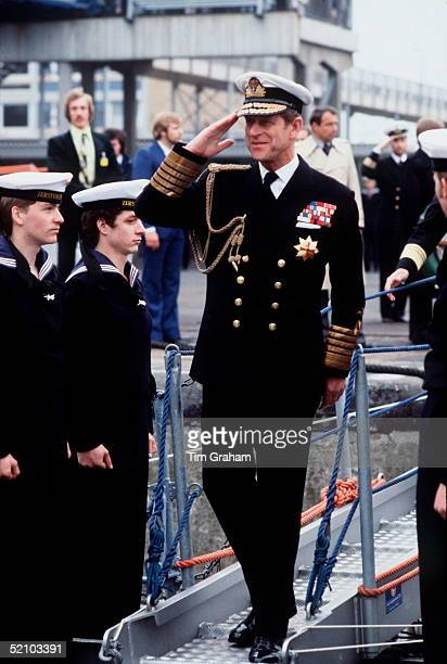 Prince Philip In Uniform Of Admiral Of The Fleet In Bremerhaven Germany