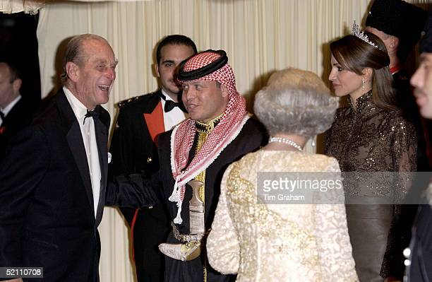 Prince Philip Laughing As He Is Greeted By King Abdullah II Of Jordan As He Arrives With The Queen For A Banquet At Spencer House In London During...