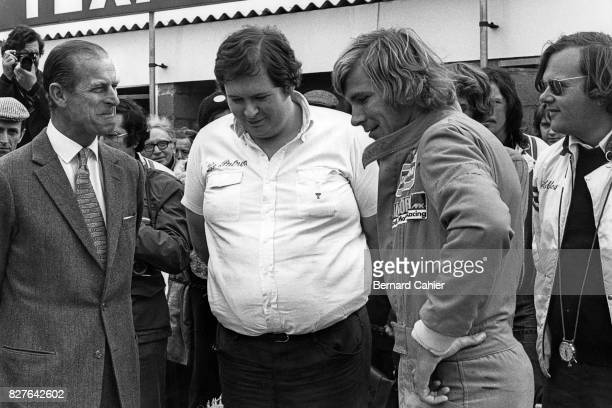 Prince Philip Lord Hesketh James Hunt Bubbles Horsley Grand Prix of Great Britain Silverstone 19 July 1975 Prince Phillip with James Hunt Lord Esketh...