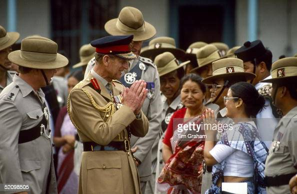 Prince Philip Meeting Gurkhas Of The Seventh Regiment