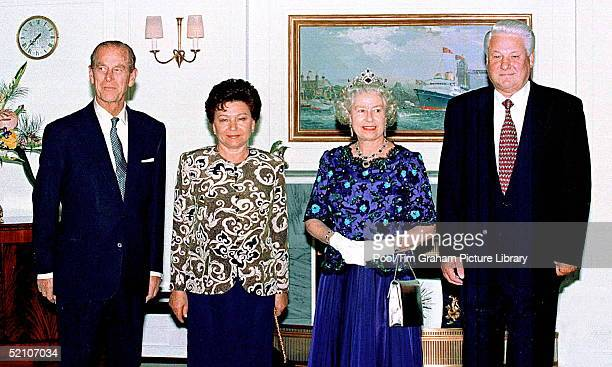 Prince Philip Mrs Yeltsin The Queen And President Boris Yeltsin On Board The Royal Yacht Britannia For A Banquet