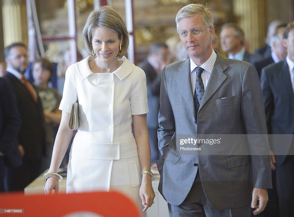 Prince Philip of Belgium and Princess Mathilde of Belgiumattend the opening of the 'Science and Culture at the Palace' exhibition on July 19, 2012 in Brussels, Belgium.