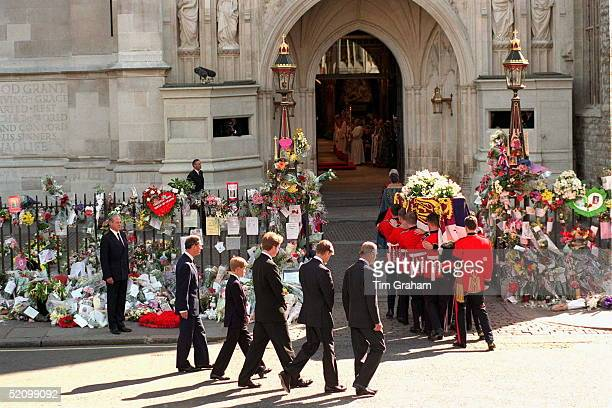 Prince Philip Prince William Earl Spencer Prince Harry And Prince Charles Following The Coffin Of The Princess Of Wales Carried Into Westminster Abbey