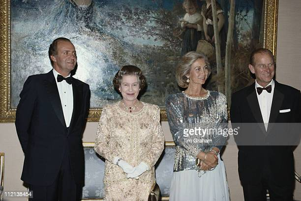 Prince Philip Queen Elizabeth II Queen Sofia of Spain and King Juan Carlos I of Spain at El Pardo Palace in Madrid for a state banquet in Spain 18...