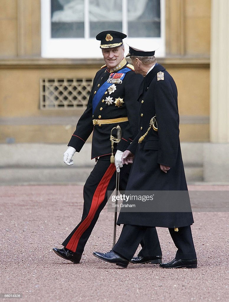 Prince Philip the Duke of Edinburgh and King Harald of Norway inspect the Guard of Honour at Buckingham Palace on October 25, 2005 in London, England.