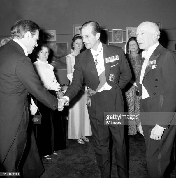 Prince Philip The Duke of Edinburgh and patron of the British Council for Rehabilitation of the disabled greets Lord Balneil one of the speakers at...