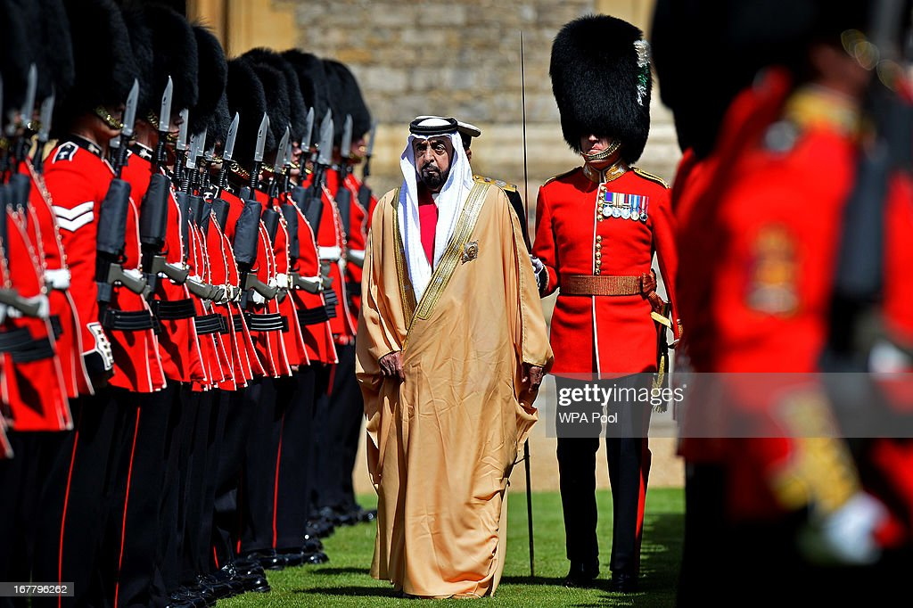 Prince Philip, the Duke of Edinburgh and President of the United Arab Emirates, His Highness Sheikh Khalifa bin Zayed Al Nahyan inspect an honour guard comprised of members of the 1st Battalion Welsh Guards during a ceremonial welcome in the quadrangle of Windsor Castle on April 30, 2013 in Windsor, England. President Sheikh Khalifa begins a State visit to the UK today, the first for a UEA President in 24 years. Sheikh Khalifa will meet the British Prime Minister David Cameron tomorrow at his Downing Street residence.
