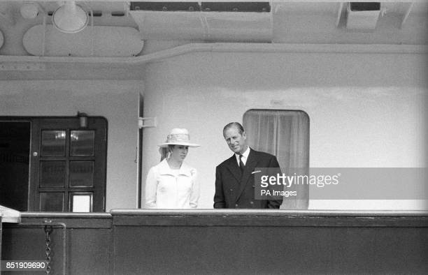 Prince Philip The Duke of Edinburgh and Princess Anne aboard the Royal yacht Britannia shortly before leaving Southampton with The Queen and other...