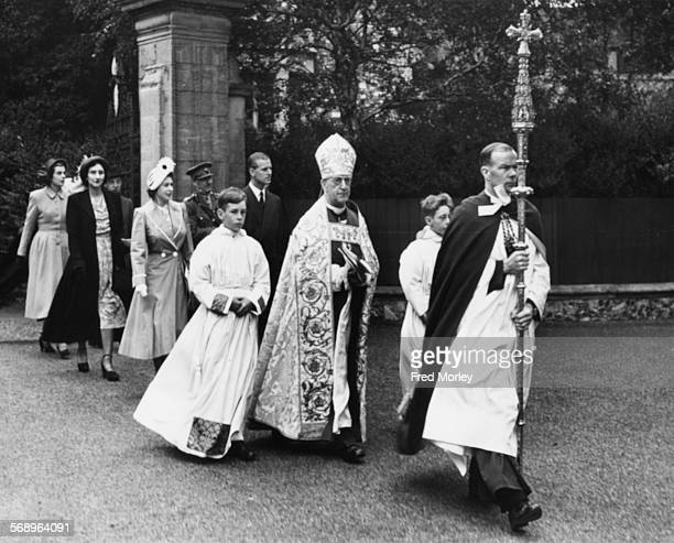 Prince Philip the Duke of Edinburgh and Princess Elizabeth following the Archbishop of Canterbury in a procession to Canterbury Cathedral Kent July...