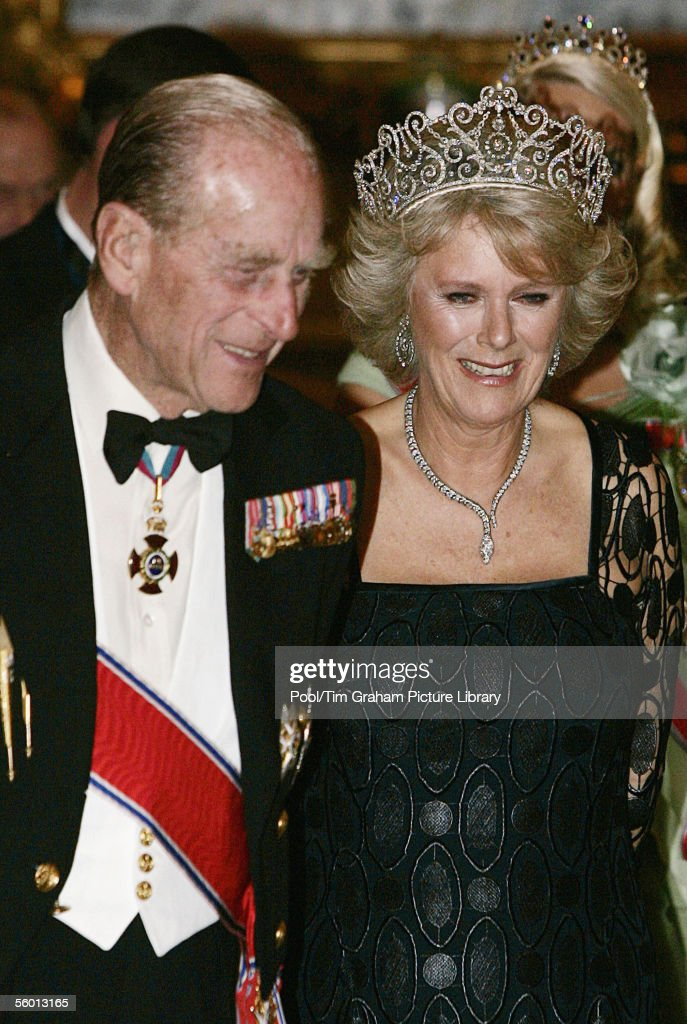 Prince Philip, The Duke of Edinburgh, and the Camilla Duchess of Cornwall, in Royal heirloom diamond tiara, necklace and earrings, at a banquet in Buckingham Palace on October 25, 2005 in London, England. This is the first time that Camilla has worn the royal tiara and only the third time the priceless jewelry has been worn in public.