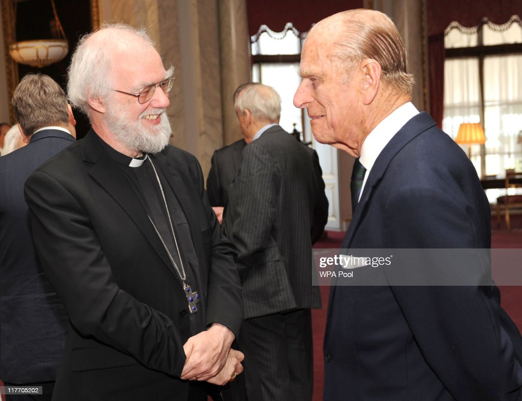 <a gi-track='captionPersonalityLinkClicked' href=/galleries/search?phrase=Prince+Philip&family=editorial&specificpeople=92394 ng-click='$event.stopPropagation()'>Prince Philip</a>, The Duke of Edinburgh chats with the Archbishop of Canterbury Dr <a gi-track='captionPersonalityLinkClicked' href=/galleries/search?phrase=Rowan+Williams&family=editorial&specificpeople=239468 ng-click='$event.stopPropagation()'>Rowan Williams</a> during a ceremony at Buckingham Palace to mark the Duke of Edinburgh's 90th birthday on June 30, 2011 in London.