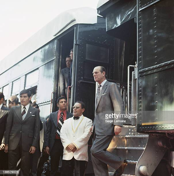 Prince Philip the Duke of Edinburgh disembarks from a train during his state visit to Mexico 1975
