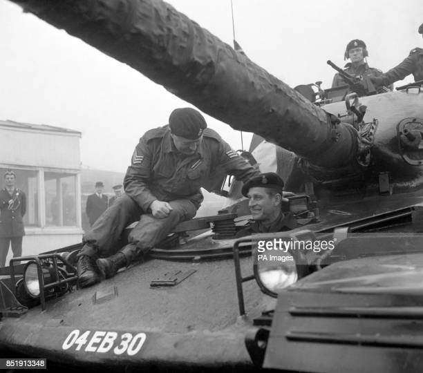 Prince Philip The Duke of Edinburgh in the driving seat of a 50ton Chieftan tank during his visit to the Queen's Royal Irish Hussars at the Royal...