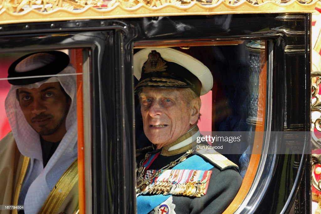 Prince Philip, the Duke of Edinburgh leaves in a carriage after greeting The President of the United Arab Emirates, His Highness Sheikh Khalifa bin Zayed Al Nahyan on the Royal Dais on April 30, 2013 in Windsor, England. President Sheikh Khalifa begins a State visit to the UK today, the first for a UEA President in 24 years. Sheikh Khalifa will meet the British Prime Minister David Cameron tomorrow at his Downing Street residence.