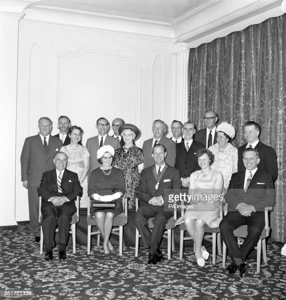 Prince Philip The Duke of Edinburgh President of the Royal Society for the Prevention of Accidents posed in this group at London's Grosvenor House...