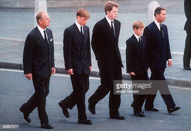 Prince Philip the Duke of Edinburgh Prince William Earl Spencer Prince Harry and Prince Charles the Prince of Wales follow the coffin of Diana...