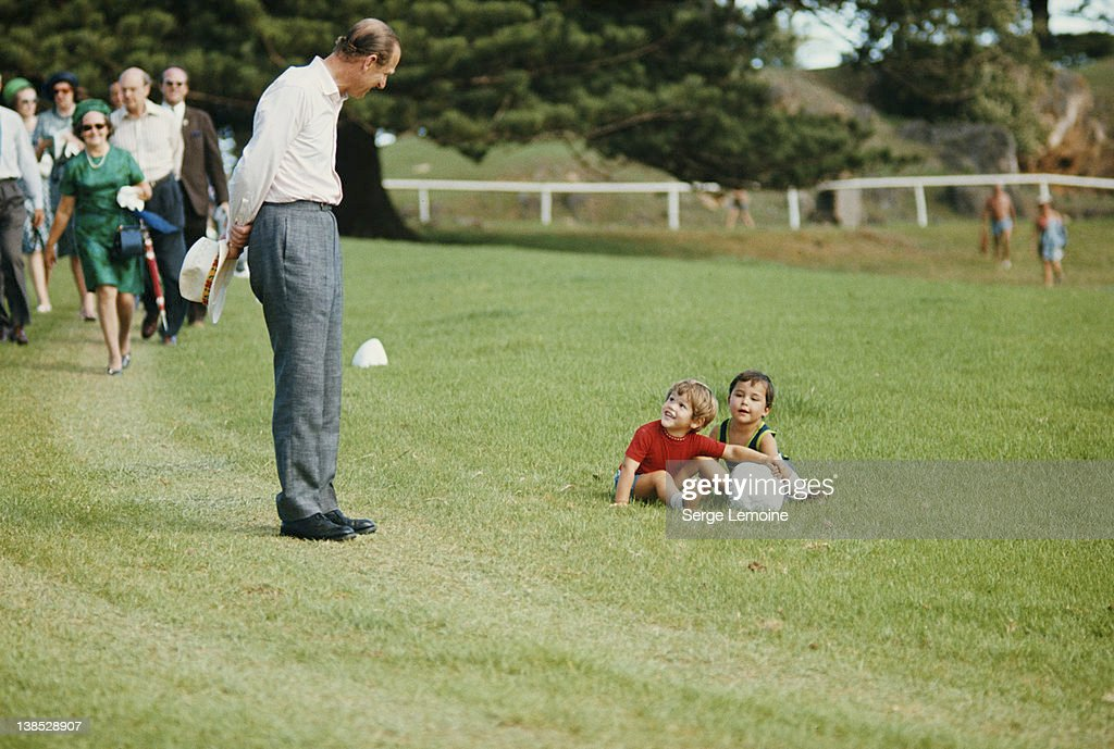 <a gi-track='captionPersonalityLinkClicked' href=/galleries/search?phrase=Prince+Philip&family=editorial&specificpeople=92394 ng-click='$event.stopPropagation()'>Prince Philip</a>, the Duke of Edinburgh stops to chat with two toddlers, circa 1980.