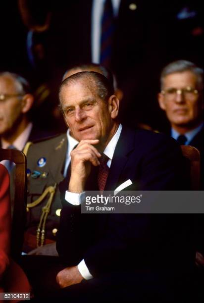 Prince Philip Watching Flamenco Dancing At The Palace Of Alcazar He Is Resting His Chin On His Hand