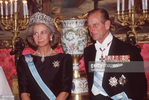 Prince Philip With Queen Sofia At The Oriente Palace For A State Banquet In Spain
