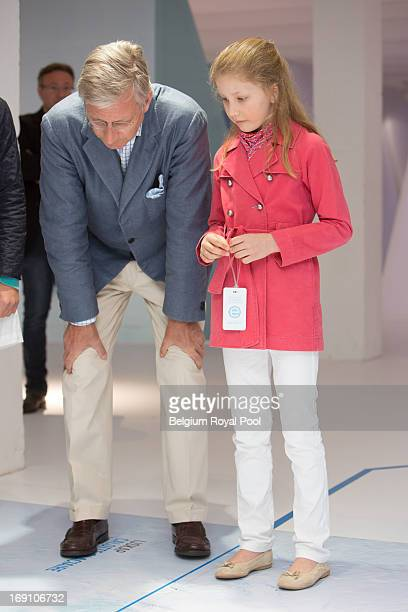 Prince Philippe and his daughter Princess Elisabeth of Belgium visit the South Pole Station exhibition at Tour Taxis on May 20 2013 in Brussels...