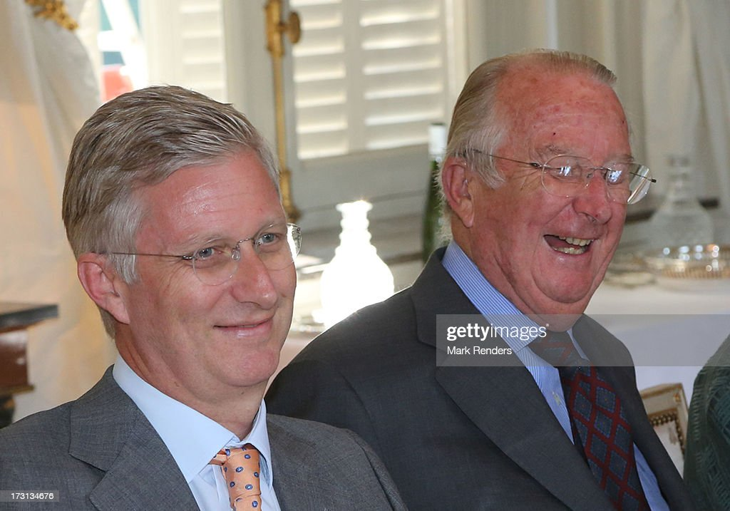 Prince Philippe and King Albert of Belgium receive members of COMORI at Laeken Castle on July 8, 2013 in Brussels, Belgium.