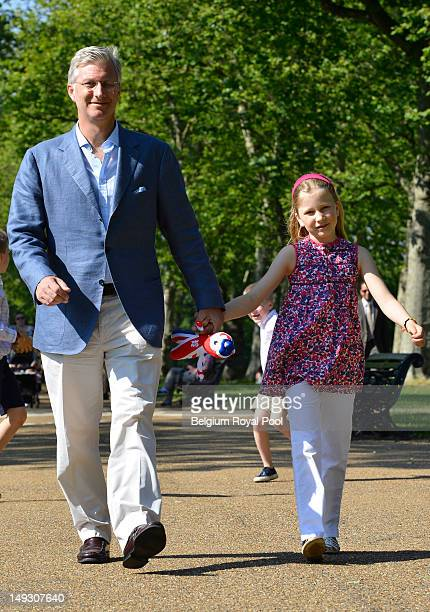Prince Philippe and Princess Elisabeth of Belgium pose for a photo during a visit to central London on July 26 2012 in London England