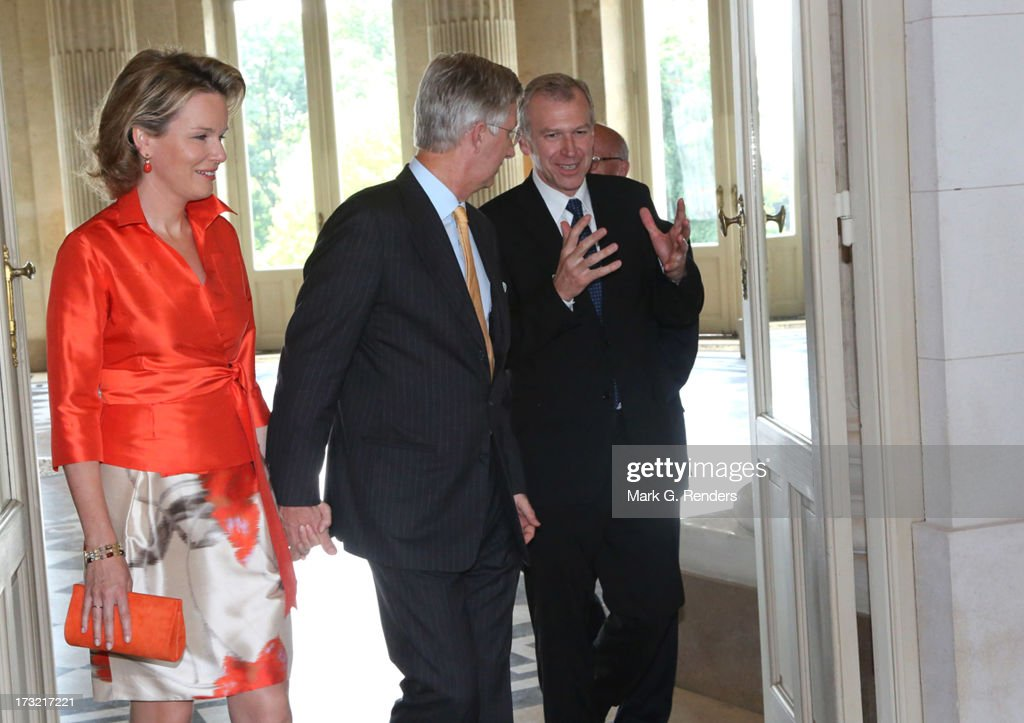 Prince Philippe (C) and Princess Mathilde of Belgium and former Prime Minister of Belgium <a gi-track='captionPersonalityLinkClicked' href=/galleries/search?phrase=Yves+Leterme&family=editorial&specificpeople=552852 ng-click='$event.stopPropagation()'>Yves Leterme</a> meet at Laeken Castle on July 10, 2013 in Brussels, Belgium.