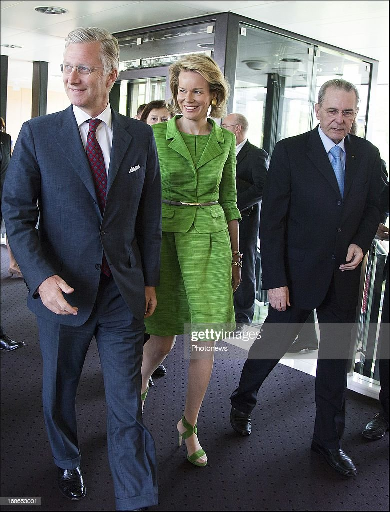Prince Philippe and Princess Mathilde of Belgium are welcomed by IOC President <a gi-track='captionPersonalityLinkClicked' href=/galleries/search?phrase=Jacques+Rogge&family=editorial&specificpeople=206143 ng-click='$event.stopPropagation()'>Jacques Rogge</a> (R) during a visit to the headquarters of the IOC on May 13, 2013 in Lausanne, Switzerland.
