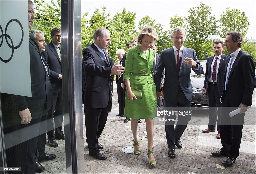 Prince Philippe and Princess Mathilde of Belgium arrive for a visit to the headquarters of the IOC on May 13, 2013 in Lausanne, Switzerland.