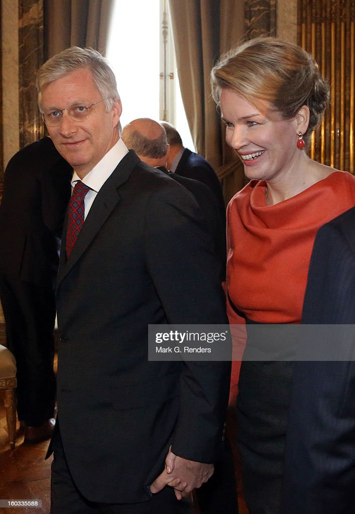 Prince Philippe and Princess Mathilde of Belgium attend a New Year Reception for Country Officials at the Royal Palace on January 29, 2013 in Brussels, Belgium.