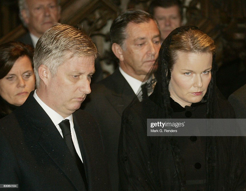 Prince Philippe and Princess Mathilde of Belgium attend the funeral of Patrick d'Udekem d'Acoz, Princess Mathilde's Father at Saint Pierre Church on September 30, 2008 in Bastogne, Belgium.