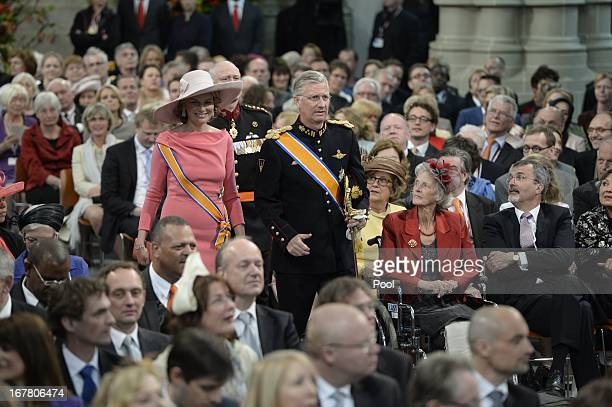 Prince Philippe and Princess Mathilde of Belgium during the inauguration ceremony of HM King Willem Alexander and HM Queen Maxima of the Netherlands...