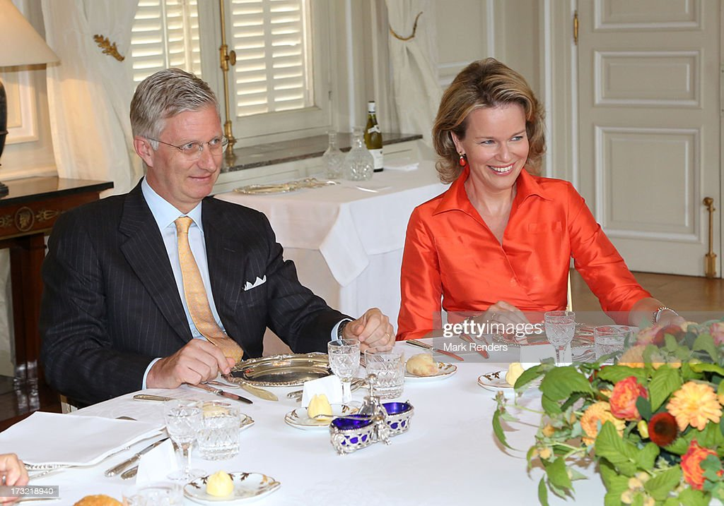 Prince Philippe and Princess Mathilde of Belgium meet former Prime Ministers of Belgium at Laeken Castle on July 10, 2013 in Brussels, Belgium.