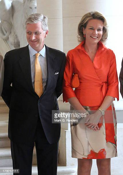 Prince Philippe and Princess Mathilde of Belgium meet with former Belgian Prime Ministers at Laeken Castle on July 10 2013 in Brussels Belgium