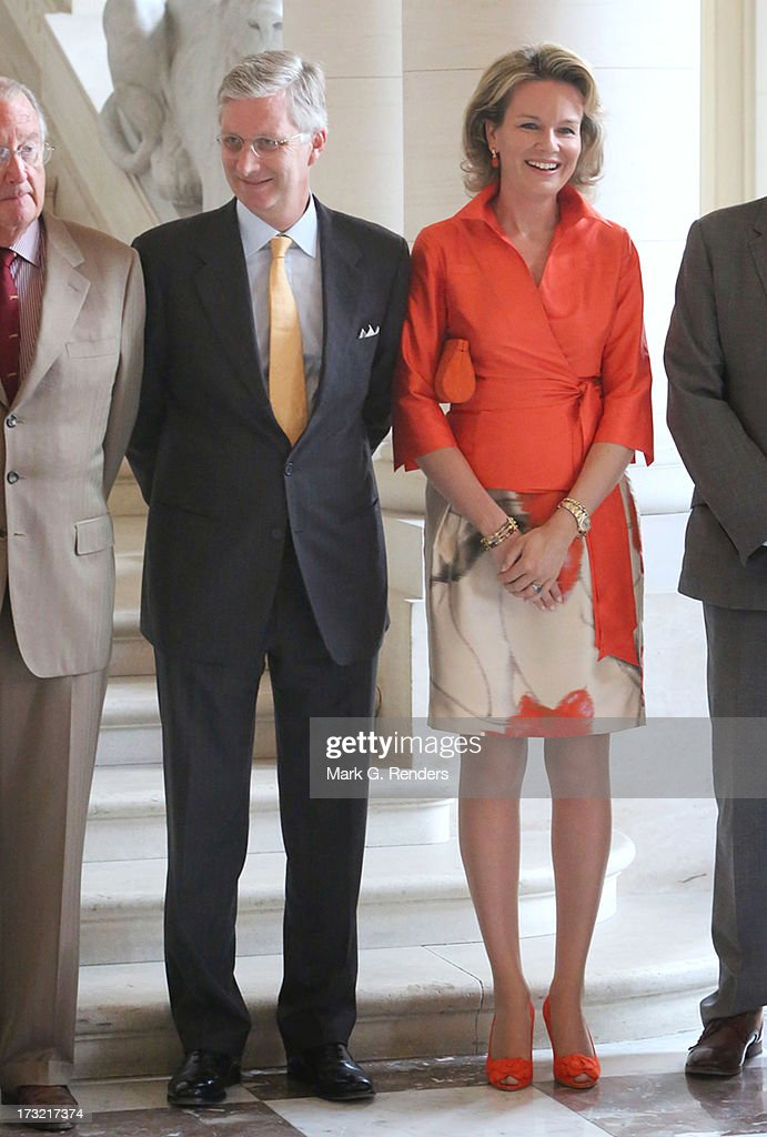 Prince Philippe and Princess Mathilde of Belgium meet with former Belgian Prime Ministers at Laeken Castle on July 10, 2013 in Brussels, Belgium.
