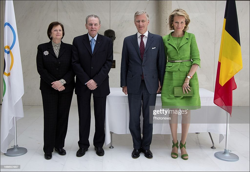 Prince Philippe and Princess Mathilde of Belgium pose for photographs with IOC President <a gi-track='captionPersonalityLinkClicked' href=/galleries/search?phrase=Jacques+Rogge&family=editorial&specificpeople=206143 ng-click='$event.stopPropagation()'>Jacques Rogge</a> during a visit to the headquarters of the IOC on May 13, 2013 in Lausanne, Switzerland.