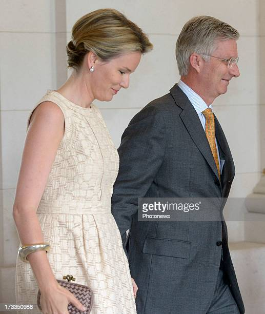 Prince Philippe and Princess Mathilde of Belgium receive Regional Ministers at Laeken Castle on July 12 2013 in Brussels Belgium