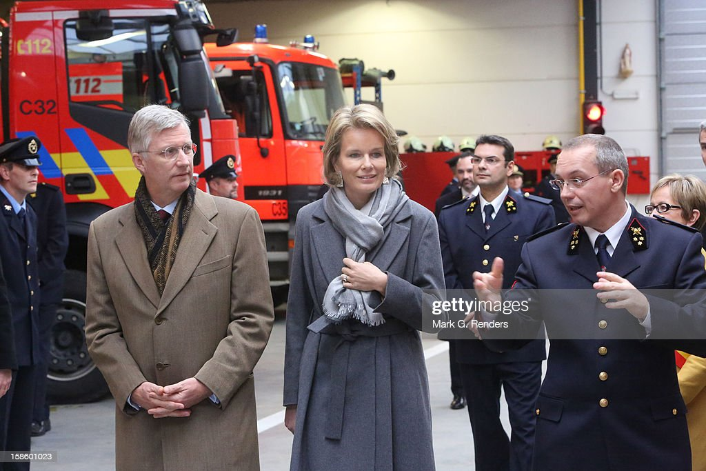 Prince Philippe and Princess Mathilde of Belgium visit the Jodoigne Fire Brigade on December 20, 2012 in Jodoigne, Belgium.