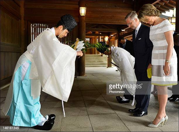 Prince Philippe and Princess Mathilde of Belgium visit the Meiji Shrine temple on June 11 2012 in Tokyo Japan Prince Philippe visits Japan for one...