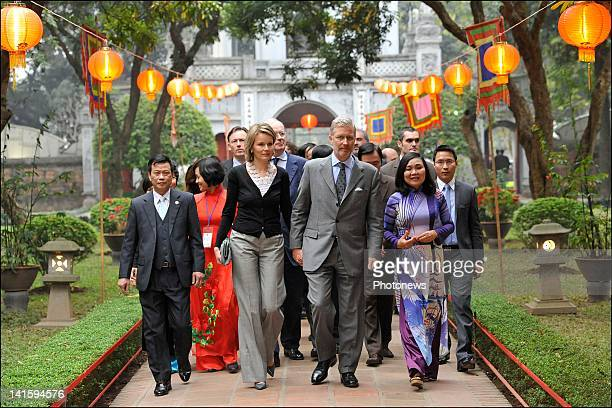 Prince Philippe and Princess Mathilde of Belgium visit the Temple of Literature during their Belgian economic mission to Vietnam on March 14 2012 in...