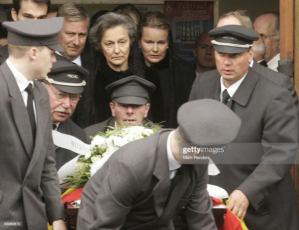 Prince Philippe, Anne Komozowski and Princess Mathilde of Belgium attend the funeral of Patrick d'Udekem d'Acoz, Princess Mathilde's father, at Saint Pierre Church on September 30, 2008 in Bastogne, Belgium.