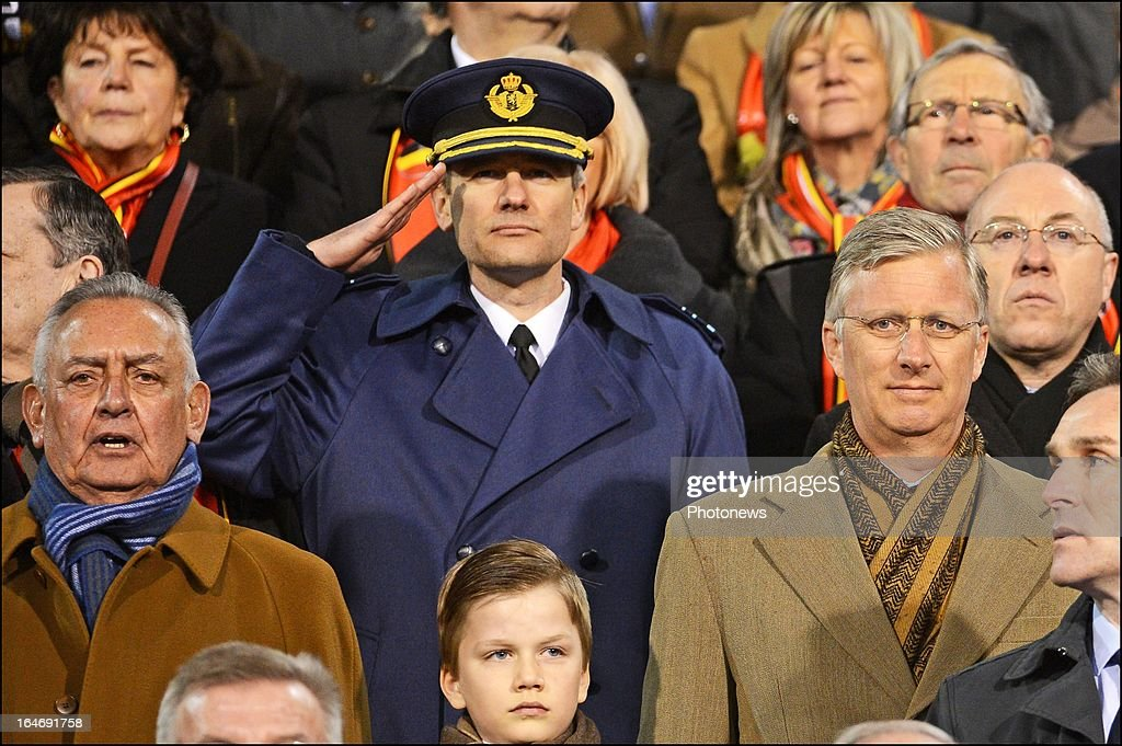 Prince Philippe, Duke of Brabant (R) in the stands during the FIFA 2014 World Cup Group A qualifying match between Belgium and Macedonia at the King Baudouin stadium on March 26, 2013 in Brussels, Belgium