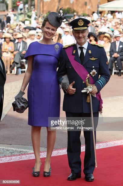 Prince Philippe Duke of Brabant Prince of Belgium and Princess Mathilde arriving for the wedding of Prince Albert II of Monaco and Charlene Wittstock...